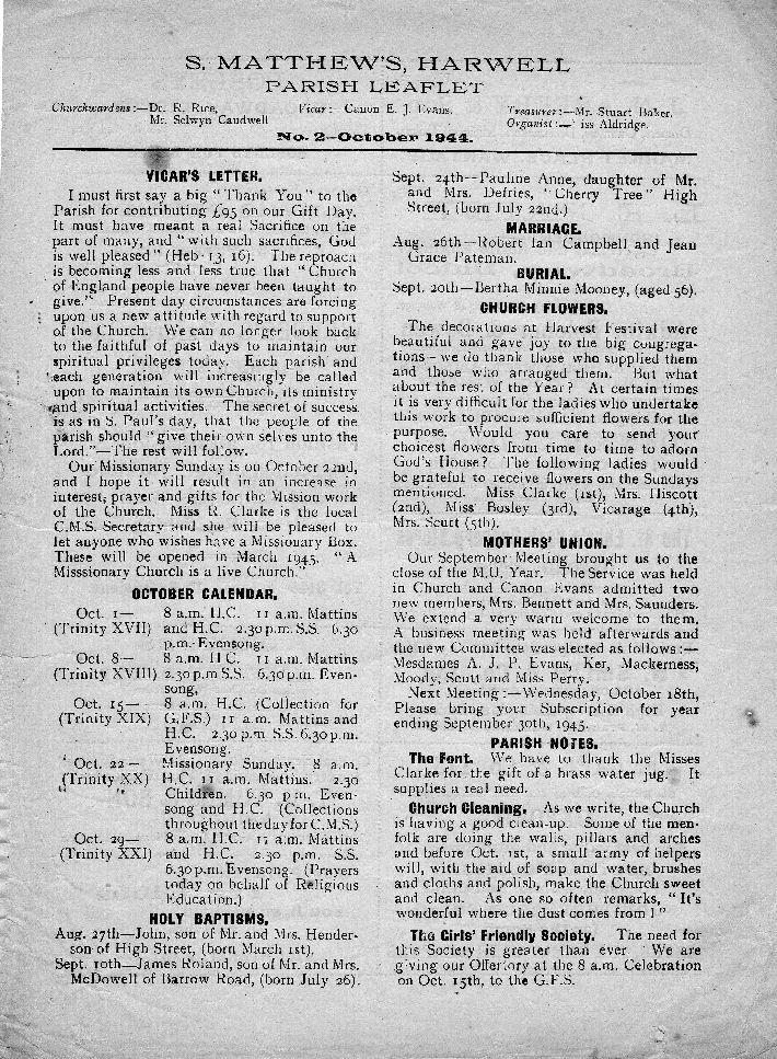 Parish Leaflet Oct 1944 p.1